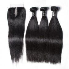 UNice Hair Banicoo Series Best Quality 3 Bundles Raw Virgin Straight Hair With Lace Closure