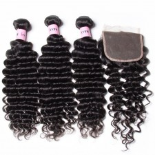 UNice Hair Icenu Series 3 Bundles Virgin Deep Wave Human Hair With Lace Closure