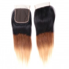 UNice Hair Icenu Series 1PC T1B/4/27 Ombre Color Lace Closure Free Part T1B/4/27 100% Straight Human Hair