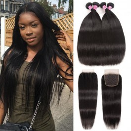 UNice Hair Icenu Series 4 Bundles Straight Virgin Hair With 4*4 Free Part Transparent Lace Closure