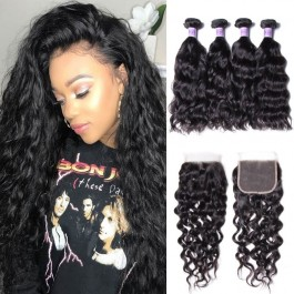 UNice Hair Kysiss Series Peruvian Wholesale 4 Bundles Natural Wave Virgin Hair With Closure
