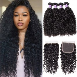 UNice Hair Kysiss Series High Quality Peruvian Curly Hair 4 Bundles With Lace Closure