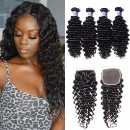 UNice Hair Kysiss Series Quality Brazilian Deep Wave Virgin Hair 4 Bundles With Closure
