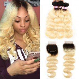 UNice Hair 1B/613 Ombre Color Body Wave Hair 3 Bundles Deals With 4x4 Lace Closure