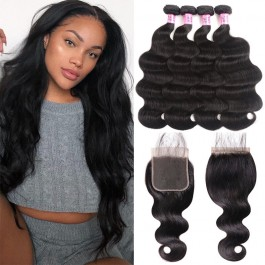 UNice Hair Icenu Series 5x5 Body Wave Lace Closure With 4pcs Body Wave Virgin Hair Bundles