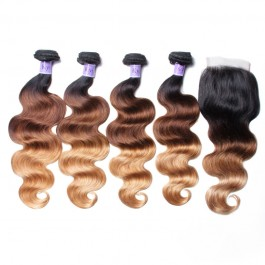 UNice Hair Kysiss Series 100% Virgin Human Hair T1B/4/27 Ombre 4 Bundles Body Wave With Closure