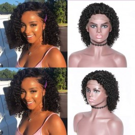 UNice New Arrival Lace Front Short BoB Wig Loose Jerry Curly Wig 8-10inch Natural Black Curly Wig African American 130% Density Bettyou Wig