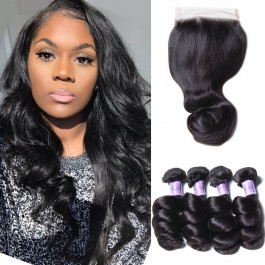 UNice Hair Kysiss Series Good 4 Bundles Malaysian Loose Wave Hair With Lace Closure