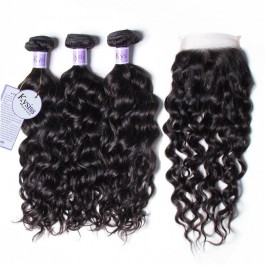 UNice Hair Kysiss Series Quality 3 Bundles 8A Natural Wave Hair With Lace Closure