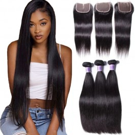 UNice Hair Brazilian Straight Virgin Hair 3 Bundles With Lace Closure Kysiss Series