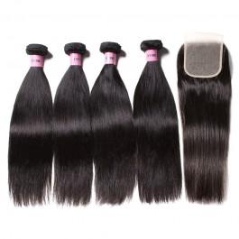 UNice Hair Icenu Series 4 Bundles Straight Virgin Hair With 4*4 Free Part Transparent Lace Closure