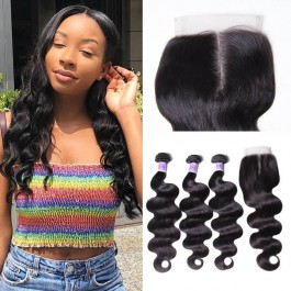 UNice Hair Quality 3pcs 8A Grade Brazilian Body Wave Hair With Lace Closure Kysiss Series