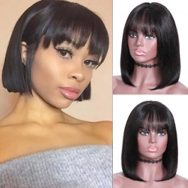 UNice Hair Bettyou Series Natural Color Natural Bob Wig Lace Front Wigs With Bangs 100% Human Hair