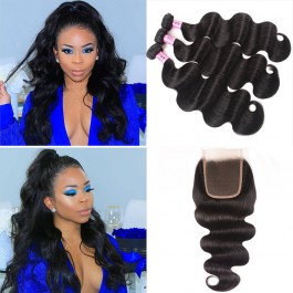 UNice Hair Icenu Series 3 Bundles Brazilian Body Wave With Lace Closure