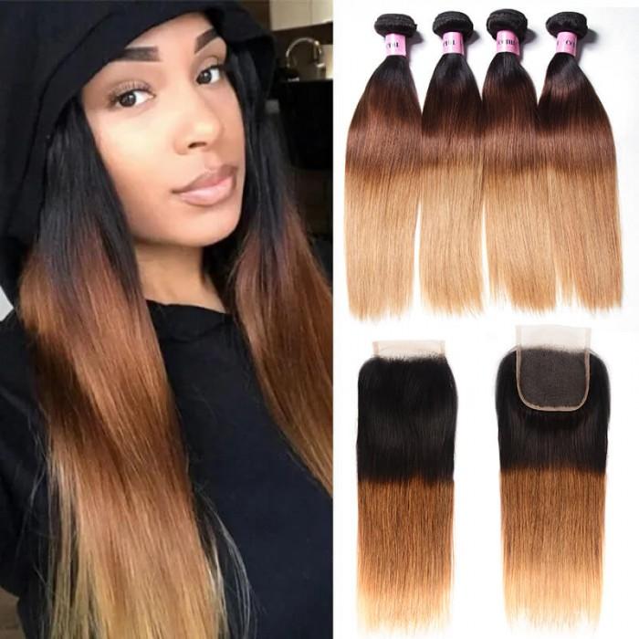 UNice Hair Icenu Series Virgin Human Hair 4 Bundles T1B/4/27 Ombre straight Hair With Lace Closure