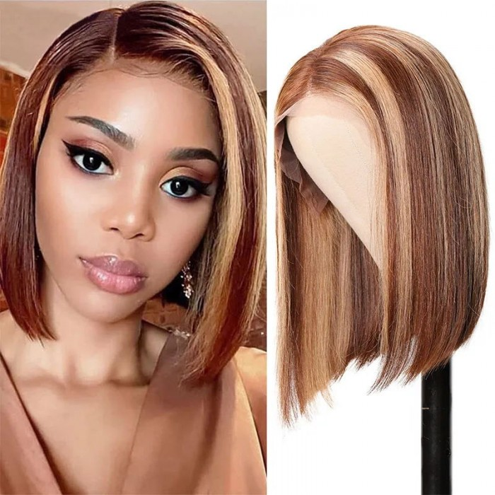 UNice 13x4 Highlight Straight Bob Lace Front Virgin Hair Wigs Ombre Color Pre Plucked with Baby Hair Lace Frontal Wigs for African American Women Bettyou Series