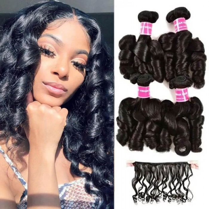 UNice Funmi Hair Curly Weave 4 Bundles Spiral Curl Hair Bundles 100% Human Hair Extensions Natural Black