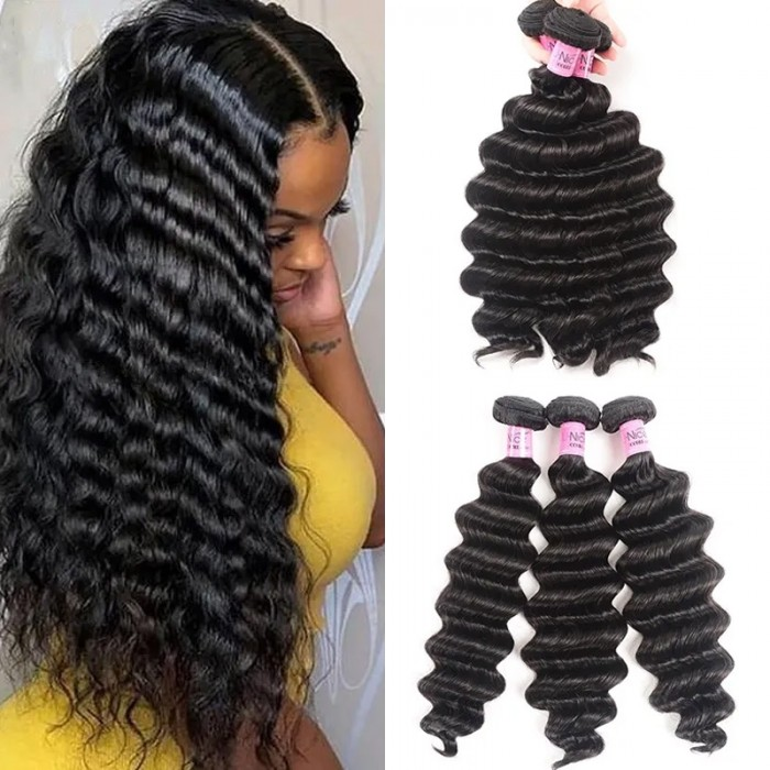 UNice Hair Loose deep Wave Human Hair 3 Bundles