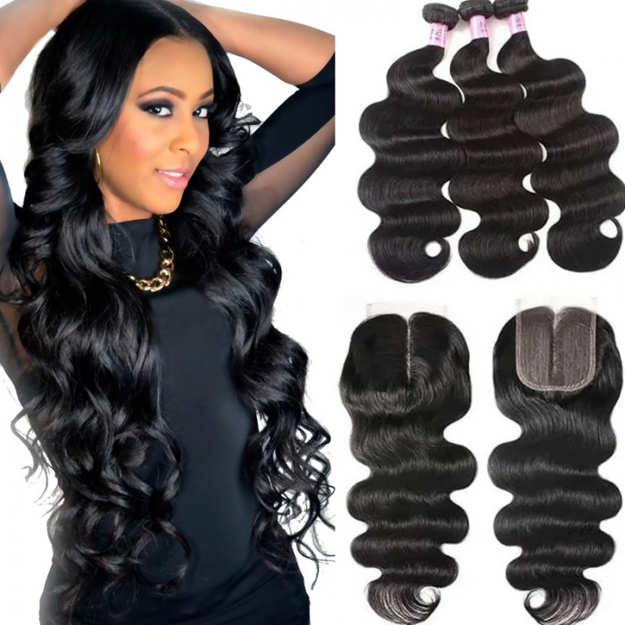 UNice Hair Affortable Body Wave Virgin Hair 3 Bundles With Closure lace Part 100% Unprocessed Virgin Human Hair