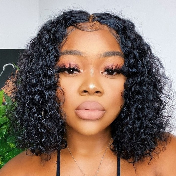 UNice Hair Bettyou Wig Water Wave 100% Human Hair Wig Short Bobo Lace Frontal Wig With Undetectable Realistic Hairline