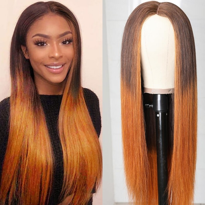 UNice Brand Day: Lace Wig Ombre Brown Wig Mid Part Straight Silk Hand Tied Lace Part Wig Natural HairLine Bettyou Series