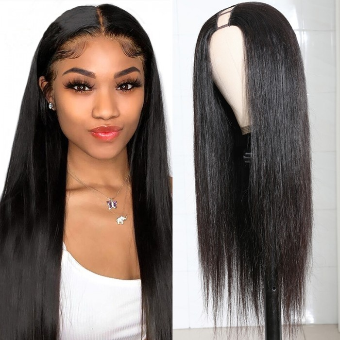 Selected 18inch Virgin Straight U Part Wig No Lace No Tan Line 150% Density Natural Black