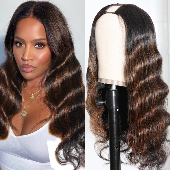 Unice hair Highlight U Part Human Hair Wigs 1x4 Body Wave Brazilian Remy Hair Ombre U Part Wigs For Women Middle Part 150 Densty Bettyou Series