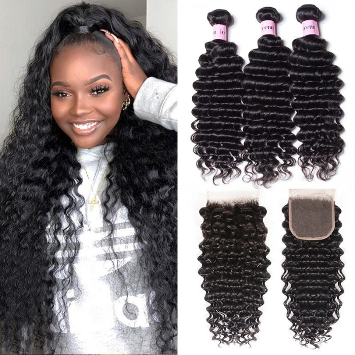 UNice Hair 3 Bundles Virgin Deep Wave Human Hair With Lace Closure Icenu Series