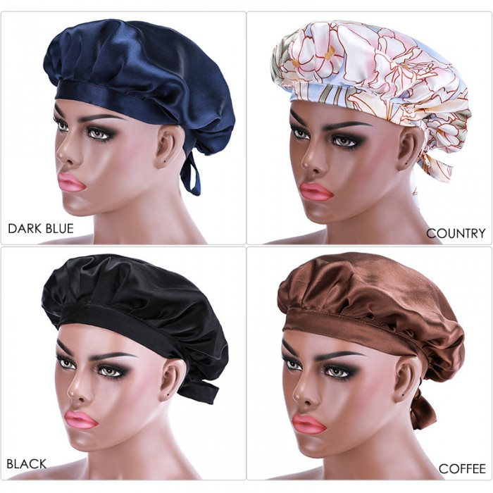 Bonus Buy Adjustable Satin Pink Night Cap Sleeping Hat For Making Wigs Nightcap For Women