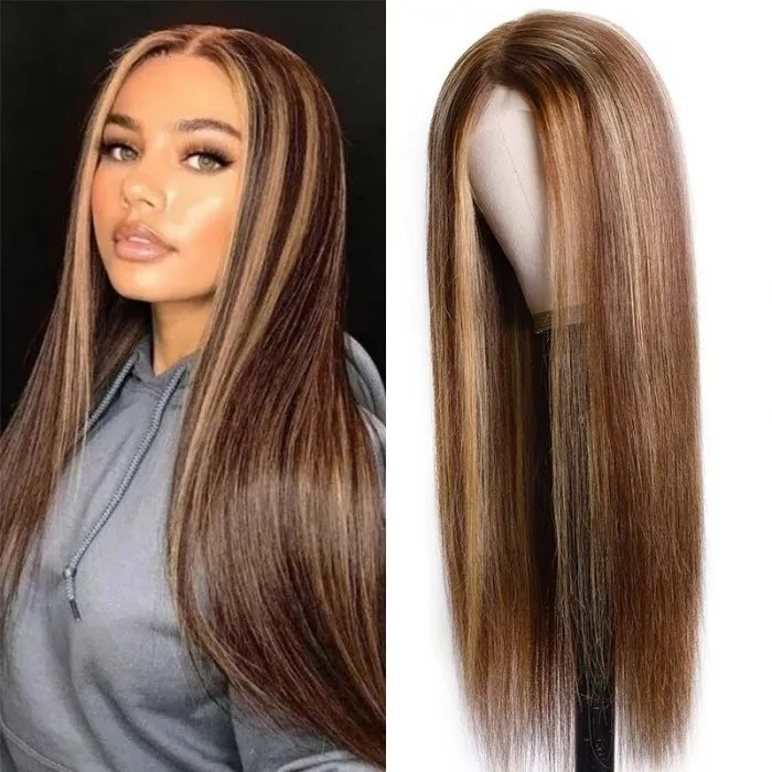 $0.99 UNice Lace Wig Middle Part Straight Hair Wigs 150% density Blonde Wig Brown Highlight Wig Long Straight Bettyou Series
