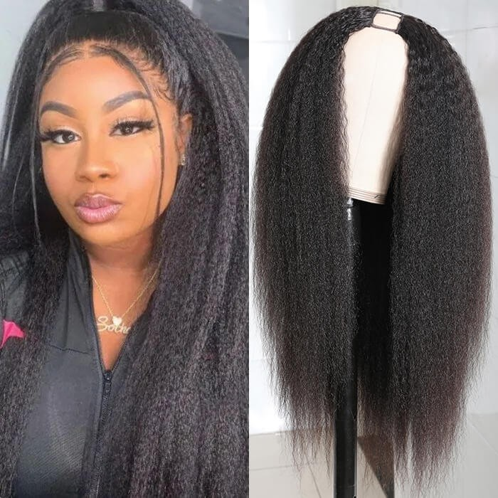 UNice U Part Wig Brazilian Hair Kinky Straight Wig Natural Color 100% Human Hair U Part Wigs Bettyou Series