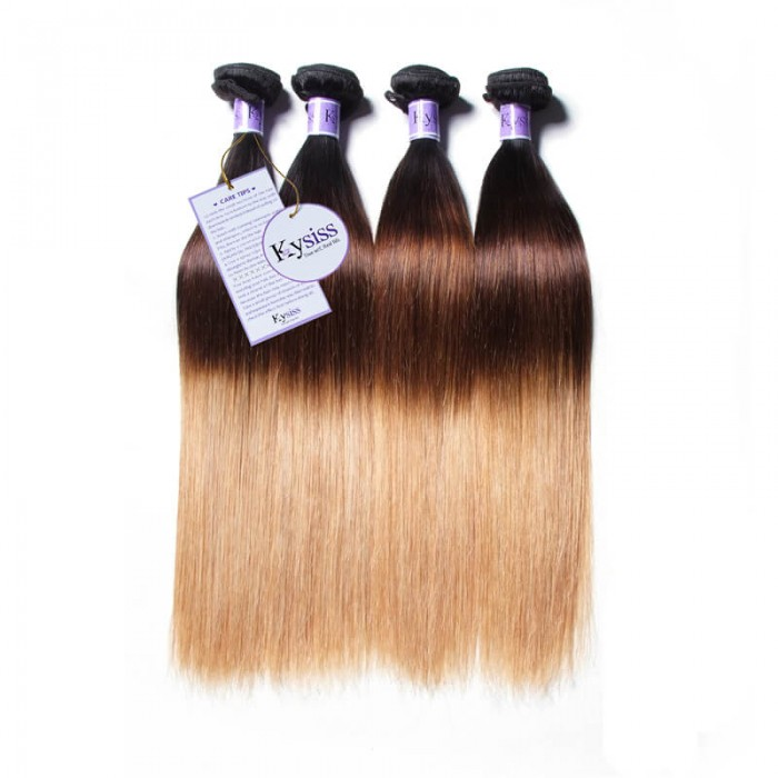 UNice Hair Kysiss Series 4 Bundles T1B/4/27 Ombre Straight Human Virgin Hair