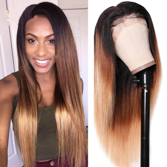 UNice T4/27 Ombre Lace Wig 13x4 Straight Lace Front Wig 150% Density Human Hair Wigs 12-24 Inch Hair Wig Bettyou Series