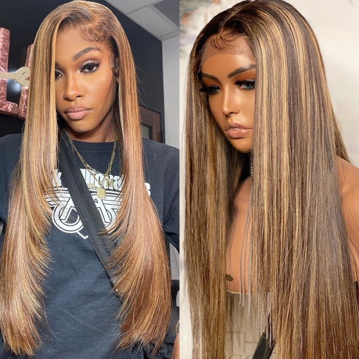 UNice Straight Honey Blond Highlight Lace Front Virgin Human Hair Wigs Pre Plucked With Baby Hair