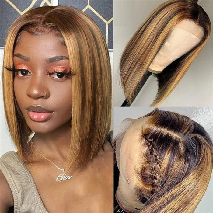 UNice 13x4 Highlight Straight Bob Lace Front Human Hair Wigs 150% Density Ombre Color Pre Plucked with Baby Hair Lace Frontal Wigs for African American Women Bettyou Series