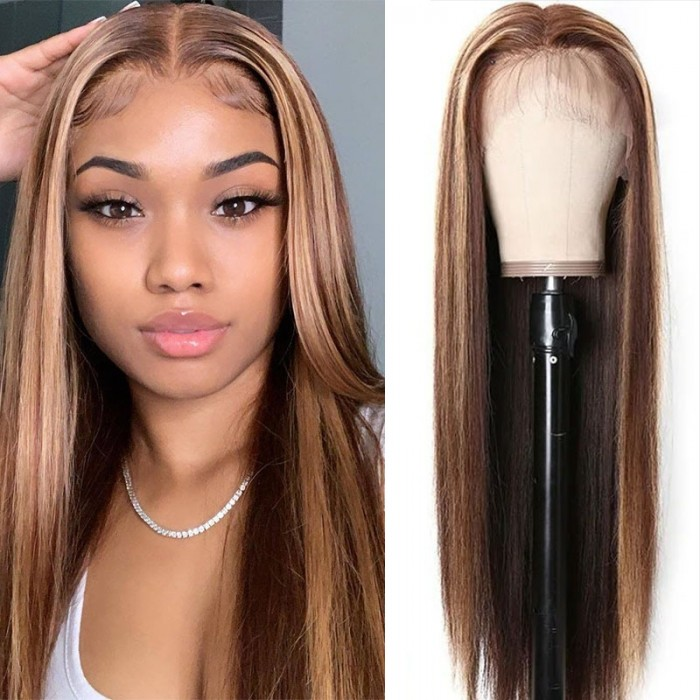 Color Crush On Honey Blonde Highlight 18inch 13 by 4 Invisible Swiss Lace Front Wig