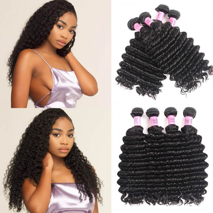 UNice Hair Icenu Series Brazilian Deep Wave Human Virgin Hair 4 Bundles