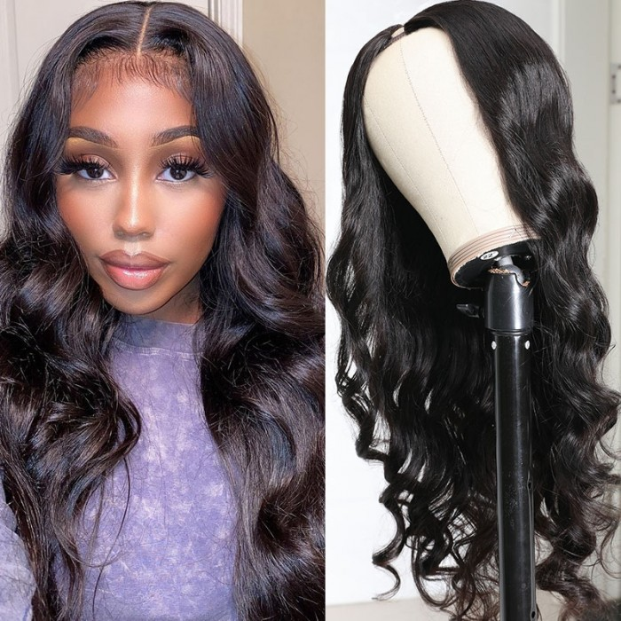 UNice 150% Heavy Density Body Wave U Part Hair Wig‎ Natural Color Brazilian Human Hair U part Wigs For Women Bettyou Series