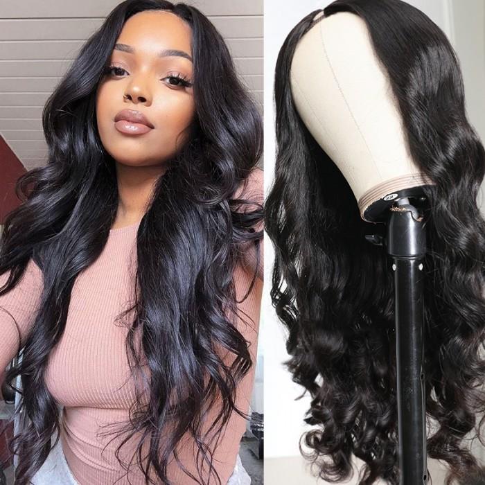 UNice 150% Heavy Density Body Wave U Part Hair Wig Natural Color Brazilian Human Hair U part Wigs For Women Bettyou Series