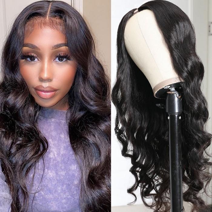Body Wave 150% Density U Part Wig 100% Virgin Human Hair Natural Black