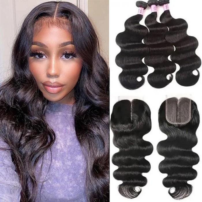 UNice Hair 3 Bundles Brazilian Body Wave With T Part Lace Closure