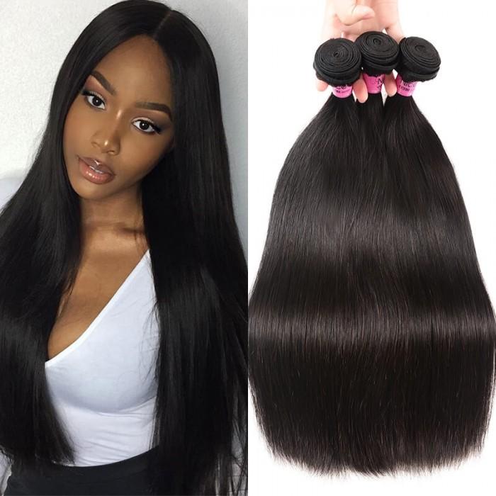 Unice Hair Icenu Series 3 Bundles Brazilian Virgin Hair Straight With Closure