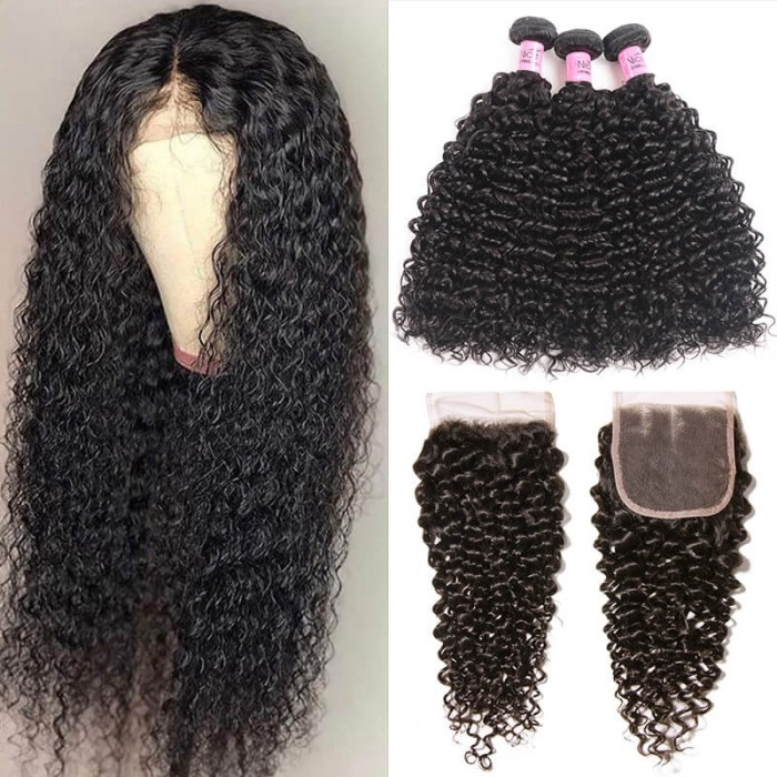 UNice Hair 3 Bundles Brazilian Jerry Curly Hair Weave With Closure Icenu Series