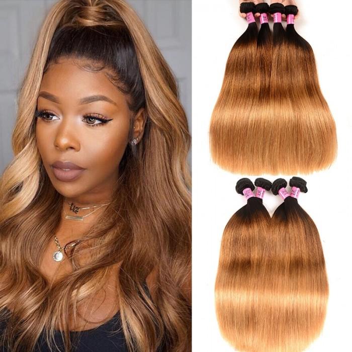 UNice Hair 4Pcs/Lot Three Tone Ombre Brazilian Straight Virgin Hair