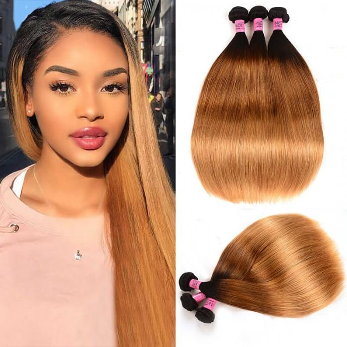 UNice Hair Icenu Series 3 Bundles Brazilian Ombre Straight Human Virgin Hair