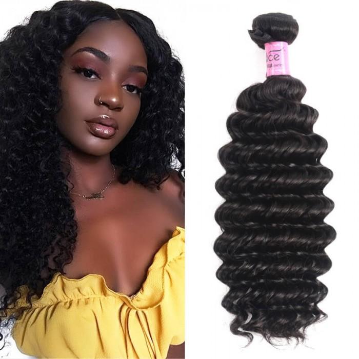 Icenu Series 1 Bundle Deep Wave Human Virgin Hair Weaving Double Weft