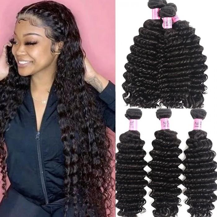 UNice Hair 3 Bundles Human Virgin Hair Deep Wave Hair Fast Shipping