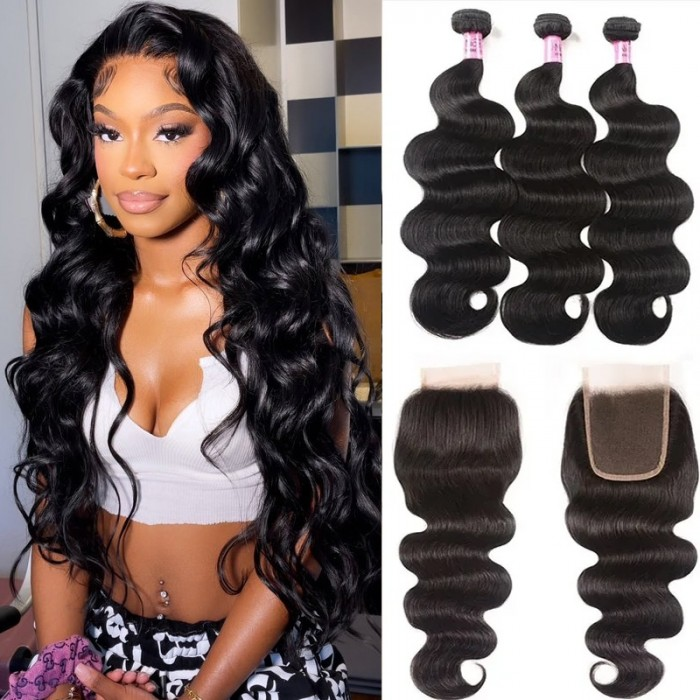 UNice Hair Unprocessed Body Wave Hair 3 Bundles With Lace Closure