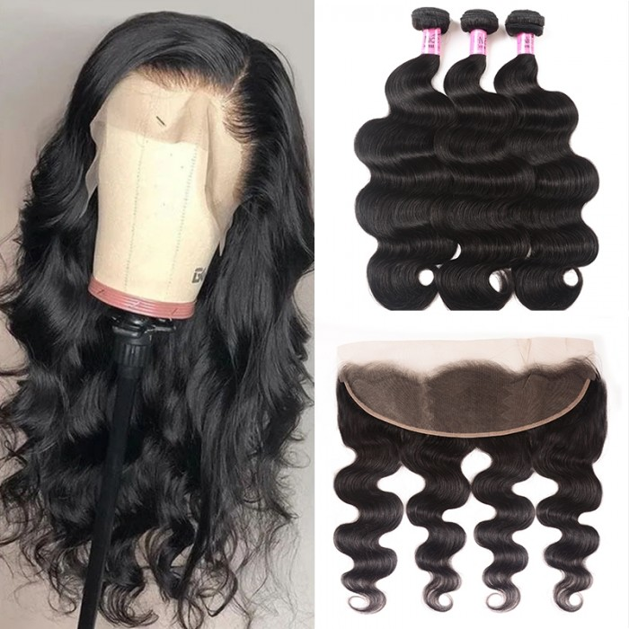 UNice Hair 3 Bundles Body Wave Hair With Lace Frontal Hair Closure Icenu Series