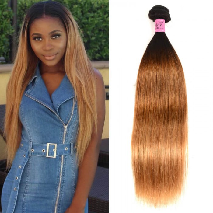 UNice Hair Icenu Series Virgin Hair Ombre Hair Extensions 1B/4/27 Straight Human Hair Weave